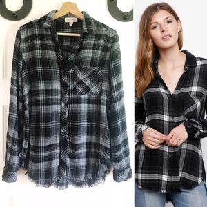 Cloth & Stone Flannel Fray Hem Pocket Button Down